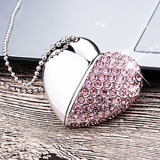 Kootion Pink Crystal Heart 32GB USB Flash Drives Thumb Memory Stick for Computer