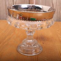 Compote Kings Crown Glass Thumbprint Indiana Candy Dish Silver Rim Pedestal Vtg