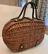 Nice Big Vintage 1960's Koret Wicker Straw Basket Hand Bag Satchel Made in Italy