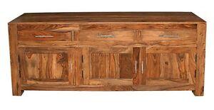 Solid Sideboard Cabinet 3 Door 3 Drawer in Cube Petit Dark Sheesham