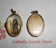 Saint St Peregrine Italian 1 inch Gold Tone and Enameled - Medal