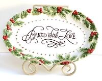"""Fitz and Floyd Christmas Handcrafted Embossed Baked w/ Love 13.5"""" Platter"""