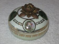 Antique/Vintage China Vanity/Dresser Bowl & Lid White & Gold Hand Painted Trim