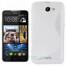 Custodia cover WAVE bianca per HTC Desire 516 lucido opaco TPU gel case nuova