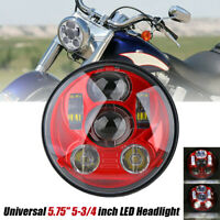 5.75'' 5-3/4'' Moto Phare Projecteur LED Hi/Lo Rouge Headlight Pour Jeep Harley