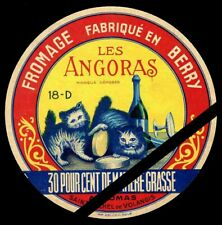 Original Vintage French Cheese Label: Cats - Les Angoras Fromage