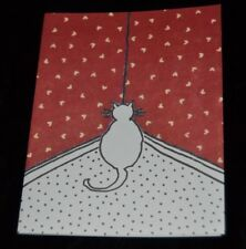 NAUGHTY CAT FACING CORNER Vintage 80's Kristin Elliott Inc. Note Cards Box of 10