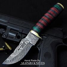 ALONZO USA CUSTOM HANDMADE DAMASCUS  HUNTING SKINNING KNIFE PAKKA WOOD 16068