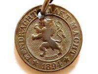 """1894 Belgium Ten (10) Centiemen Coin """"Dutch Text"""