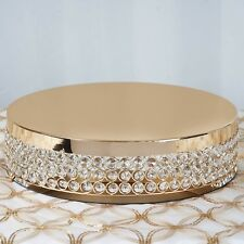 """15.5"""" Round Gold Fancy Beaded Crystal Metal Wedding Party Cake Stand"""