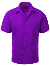Guayabera Men's Cuban Beach Wedding Short Sleeve Button-Up Casual Dress Shirt