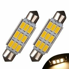 2X  42MM 9SMD Festoon LED Dome Map Interior High Power Warm White(yellowish)