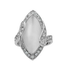 Vintage Jewelry Promise Big Opal Ring Oval Shaped Silver Plated White Crystal