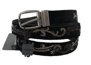 NEW DOLCE & GABBANA Belt Black Cotton Royal Bee Embroidery 105cm / 4