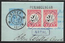 Netherlands Indies stamps 1882 NVPH Due P5 TIII+TI  Pair NATAL in box  VF