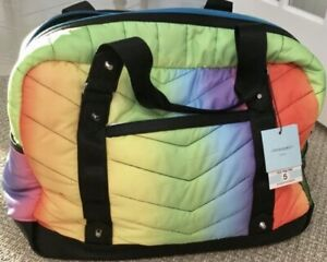 New Cynthia Rowley Chevron Duffle Tote Quilted Athletic Weekend Gym Bag Rainbow