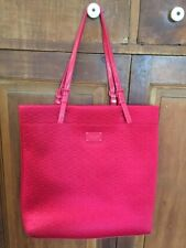 Michael Kors Red Jet Set Synthetic Padded Fabric Logo Travel Tote Shoulder Bag