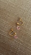 9ct Gold art deco Pink Paste Screw On Earrings
