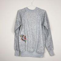 Vtg Gray Embroidered Pullover Crewneck Sweatshirt Made In USA Women Medium *read