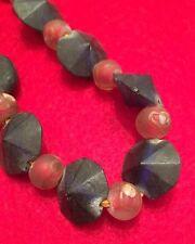 "19"" Indo-Pacific Semi-Translucent Cobalt Blue & Red Art Glass Trade Bead Strand"