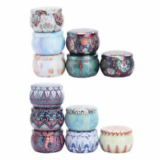 6x Vintage Metal Tin Jars Spice Candy Jewelry Storage Case Candle Containers New
