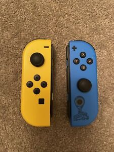 Nintendo Switch Joy Con Controllers Fortnite Ltd Edition Pair Yellow and Blue