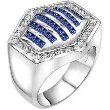 Men's Sterling Silver .925 Hexagon Blue CZ Stone Ring Sizes 6-14 /Gift Box