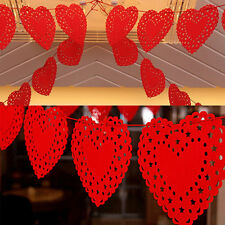 Heart Nonwovens Fabric Flag Party Garland Decor Banner Bunting  Wedding Red~so