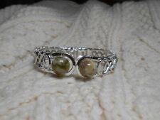 Celtic Irish Connemara Marble Silver Hinged Cuff Bracelet