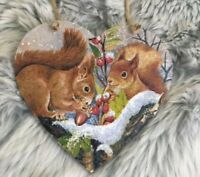 Squirrel Handmade Decoupaged large wooden hanging heart Christmas decoration
