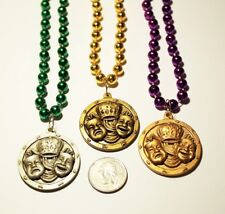 Set of 3 Comedy Tragedy New Orleans Mardi Gras Charm Bead Necklaces