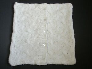 Pom Pom At Home by Hilda Leiaghat Euro Sham Luxury Ivory Cable Knit 27 x 27