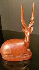 HAND CARVED WOOD GAZELLE IMPALA ANTELOPE Resting SCULPTURE AFRICAN WOODEN FIGURE