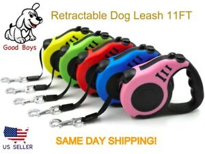 Dog Leash Retractable 11FT W/ Tension Lock Button. Variety of Colors Puppy Leash