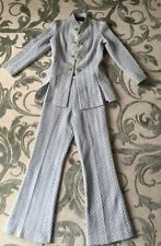 Derby Knit True Vintage Silver Thread Chevron Print Polyester Pant Suit 60s/70s?