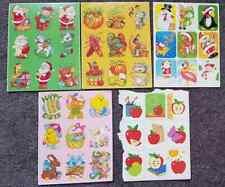 Vintage EUREKA sticker sheets Christmas Santa Harvest Easter Apples