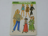 """Simplicity Doll Clothes Sewing Pattern 1970 15 1/2 or 17 1/2"""" 9138 Velvet Beauti"""