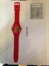 """OROLOGIO SWATCH """"NEW GENT"""" -RED LACQUERED- REF. SUOR101  -NUOVO"""