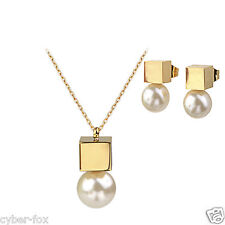 Gold Square Box with pearl Stainless Steel Earrings and Pendant Necklace Sets