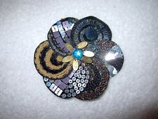 Bergdorf Goodman Vintage Fabric Pin Sequin Crystal Beads Floral Large --Superb!
