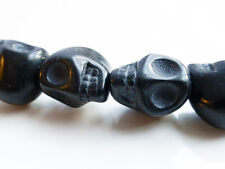 10 x 3D Synthetic Turquoise Skull Beads 15mmx12mm Black Halloween Skulls Gothic