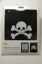 iWorld Flex Case For iPad 2 White Skull & Crossbones on Black Silicone Protector