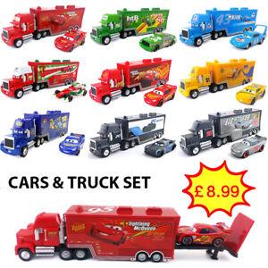 Disney Pixar Cars Lightning McQueen Jackson Storm King Truck 1:55 Toy Car Set