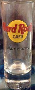 "Hard Rock Cafe BARCELONA 4"" SHOT GLASS Classic HRC LOGO Black Times Font BARWARE"