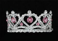 Damigella Matrimonio/Bambino cristallo cerchio rotondo cuore rosa mini corona