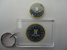 US Department of Justice FBI Logo 2 Sided Photo Keyring With Free Button Badge