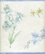 Blue And Yellow Floral On White Textured Wallpaper Border