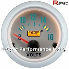 Silver Face 52mm Volt / Voltage Gauge Kit 0-16v Scale For 12v Car Van Truck