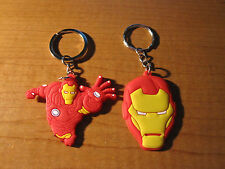(2) Invincible IRON MAN Keychains Key Chain PVC Rubber FOB Metal Ring IRONMAN