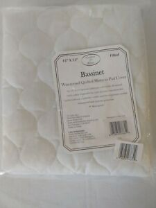 Bassinet Waterproof White Quilted Mattress Pad Cover Fitted Elastic New